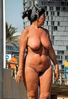 Naked old woman on..