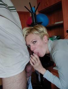 Horny wife giving a head